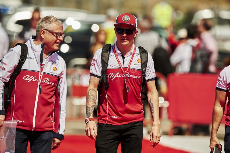 Formula One Spain Grand Prix. 12th May 2019, Circuit de Barcelona-Catalunya, Barcelona, Spain; Formula One Grand Prix of Spain, race day; Kimi Raikkonen of the stock image