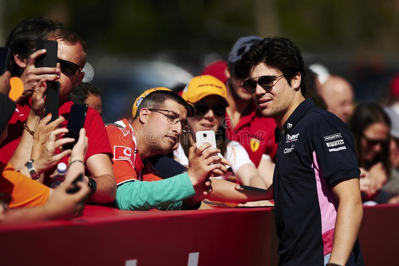 Formula One Spain Grand Prix. 12th May 2019, Circuit de Barcelona-Catalunya, Barcelona, Spain; Formula One Grand Prix of Spain, race day; Lance Stroll of the royalty free stock images