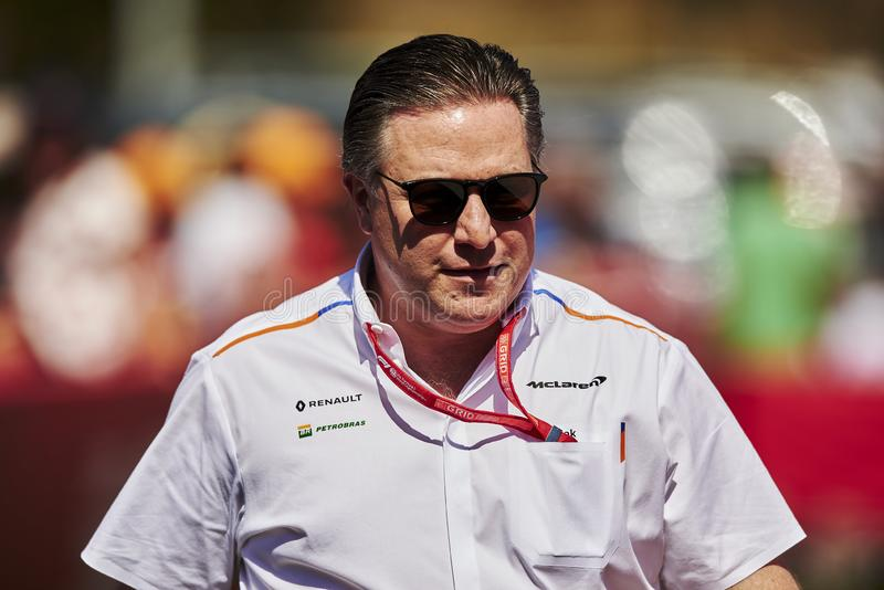 Formula One Spain Grand Prix. 12th May 2019, Circuit de Barcelona-Catalunya, Barcelona, Spain; Formula One Grand Prix of Spain, race day; Zak Brown Chief royalty free stock photo