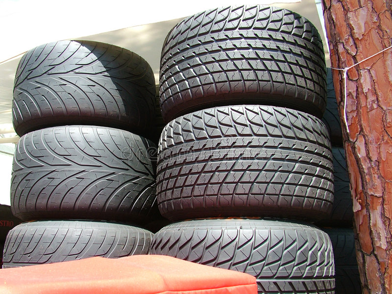 Formula one tires. Car tires in the paddock of formula one royalty free stock images