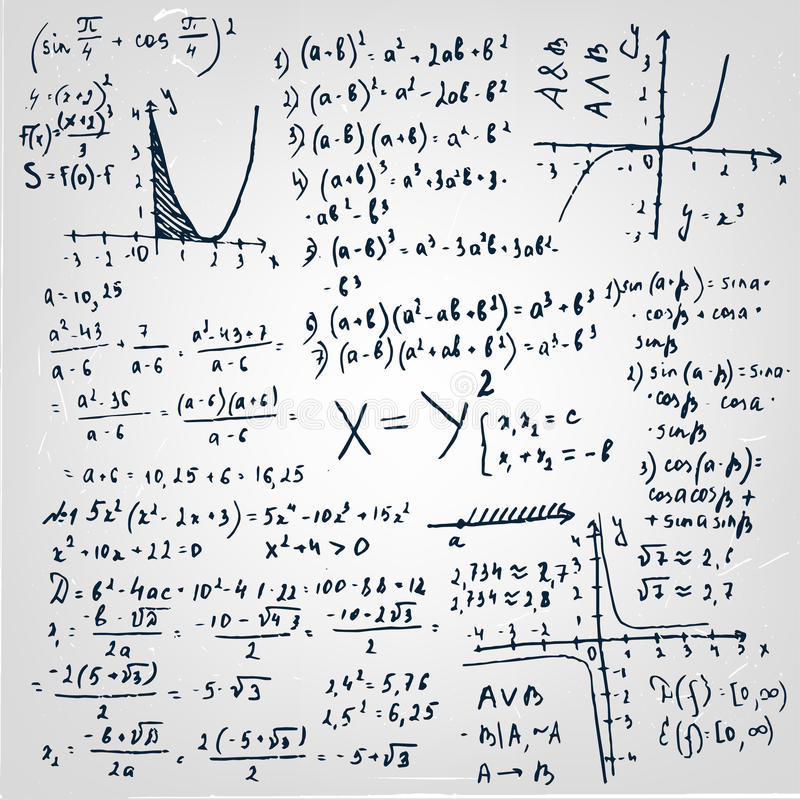 01 Formula Paper. The illustration of beautiful scientific background with black handwriting typography. Algebraic class board. Totally vector fully scalable stock illustration