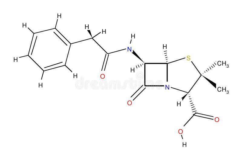 Formula strutturale della penicillina fotografia stock