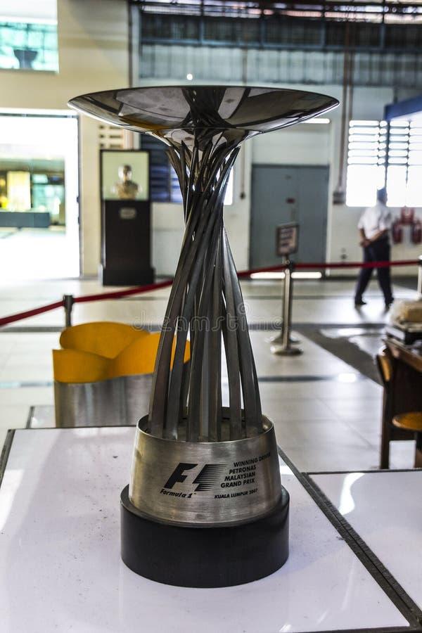 Formula 1 trophy stock photo
