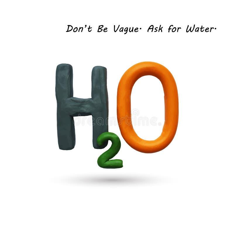 Formula of water H2O. Vector illustration. Plasticine modeling royalty free illustration