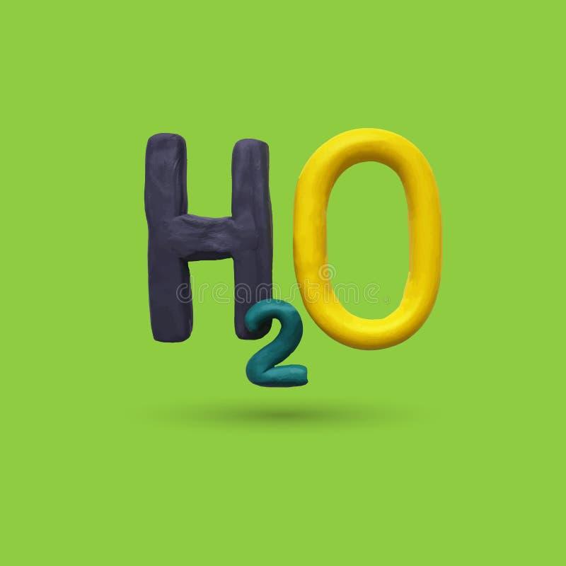 Formula of water H2O. Vector illustration. Plasticine modeling vector illustration