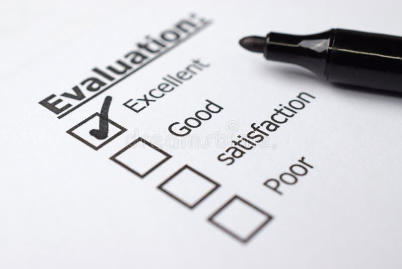 Formulaire d'évaluation photo stock