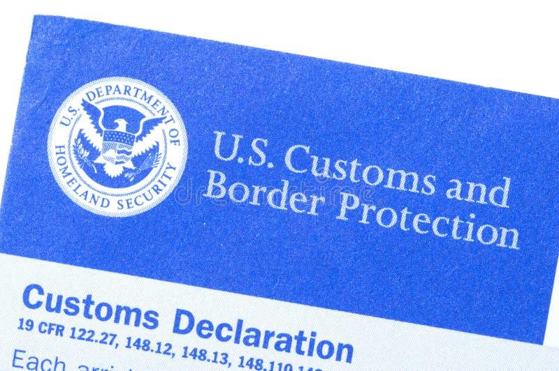 Formulaire de déclaration en douane photographie stock