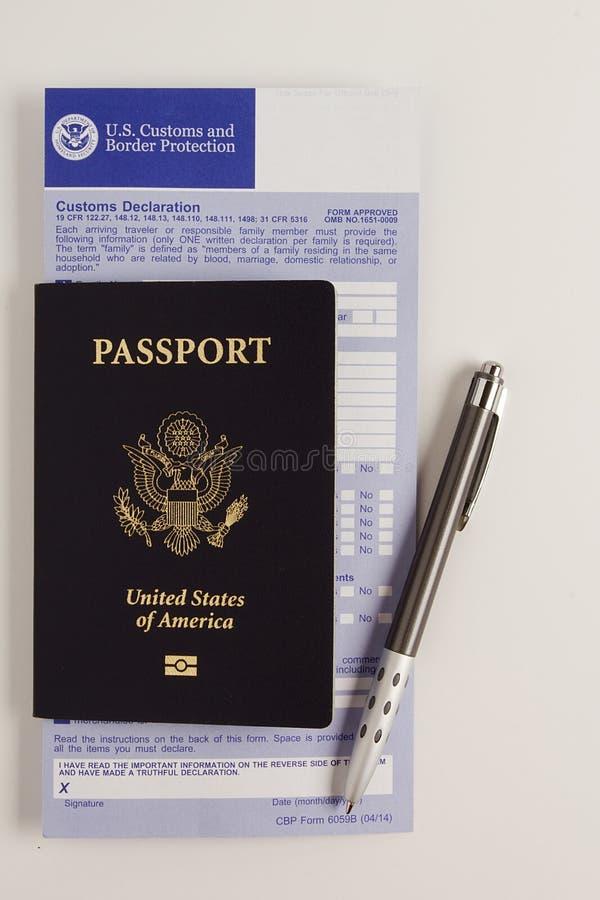 Formulaire de déclaration en douane images stock