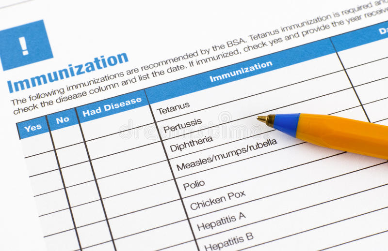 Formulaire de demande d'immunisation photo libre de droits