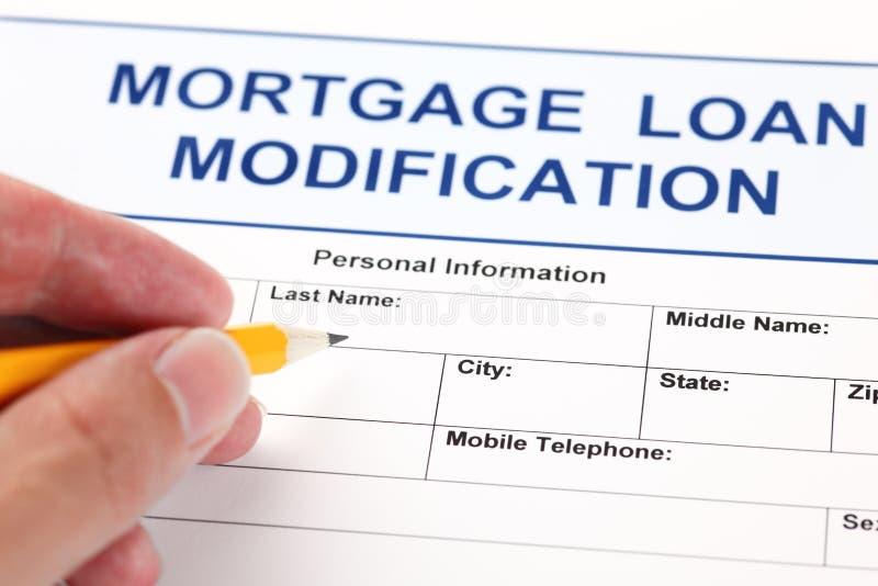 Formulaire de demande de modification de prêt hypothécaire photo stock