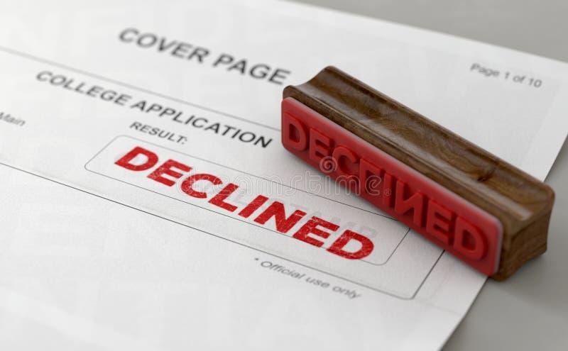 Formulaire de demande diminué de timbre et d'université illustration de vecteur
