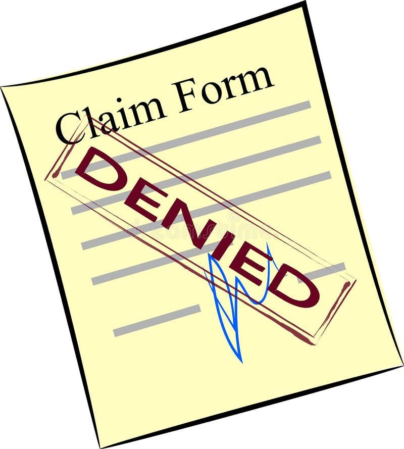 Formulaire de réclamation avec le timbre nié illustration libre de droits