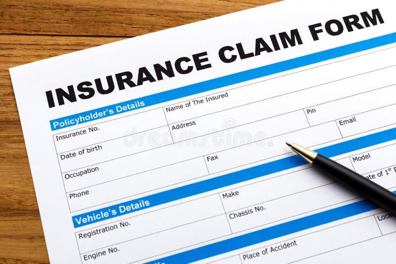 Formulaire de réclamation d'assurance photo stock