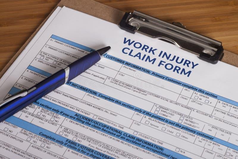 Formulaire de réclamation de blessure de travail photographie stock libre de droits