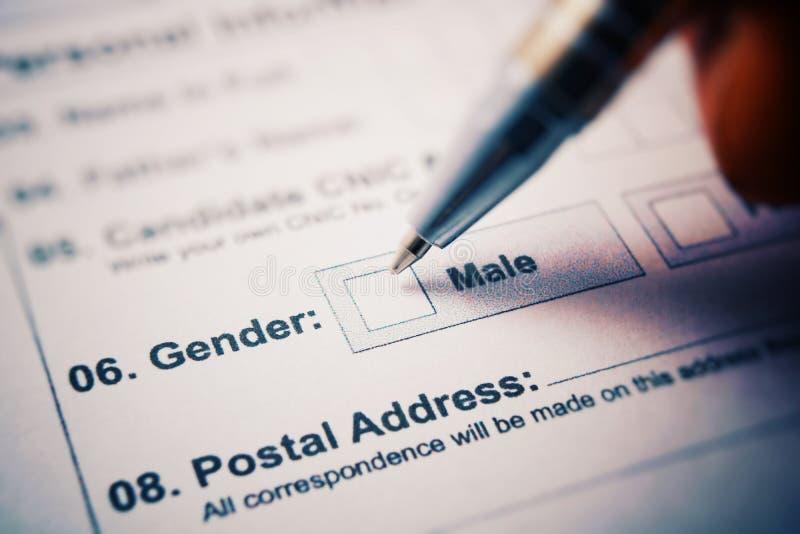 Formulario de inscripción - compruebe el varón o a la hembra Pluma a disposición fotografía de archivo