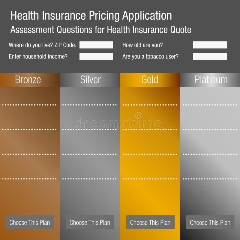 Formulario de inscripción de la tasación del seguro médico stock de ilustración