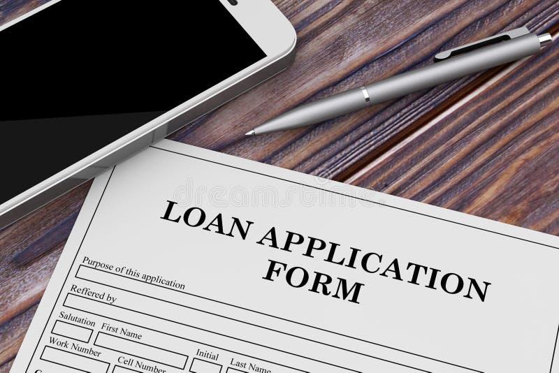Formulario de inscripción de préstamo con el teléfono móvil y la pluma representación 3d stock de ilustración