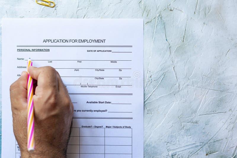 Formulario de inscripción de relleno para el trabajo fotografía de archivo