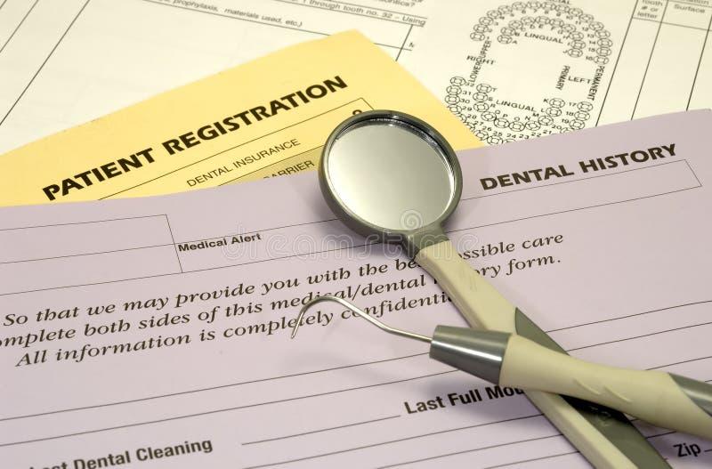 formularze dentystyczne zdjęcie stock