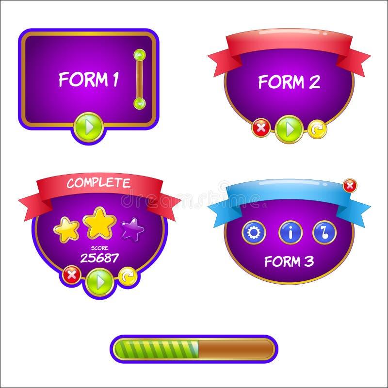 Formularzowego projekta gemowy interfejs użytkownika dla wideo gier royalty ilustracja