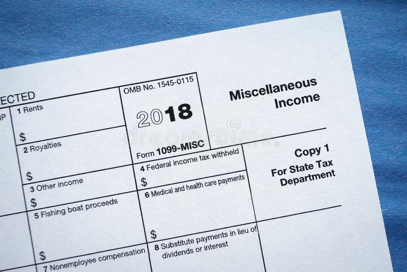 Formularzowy 1099-MISC Różny dochód obrazy royalty free
