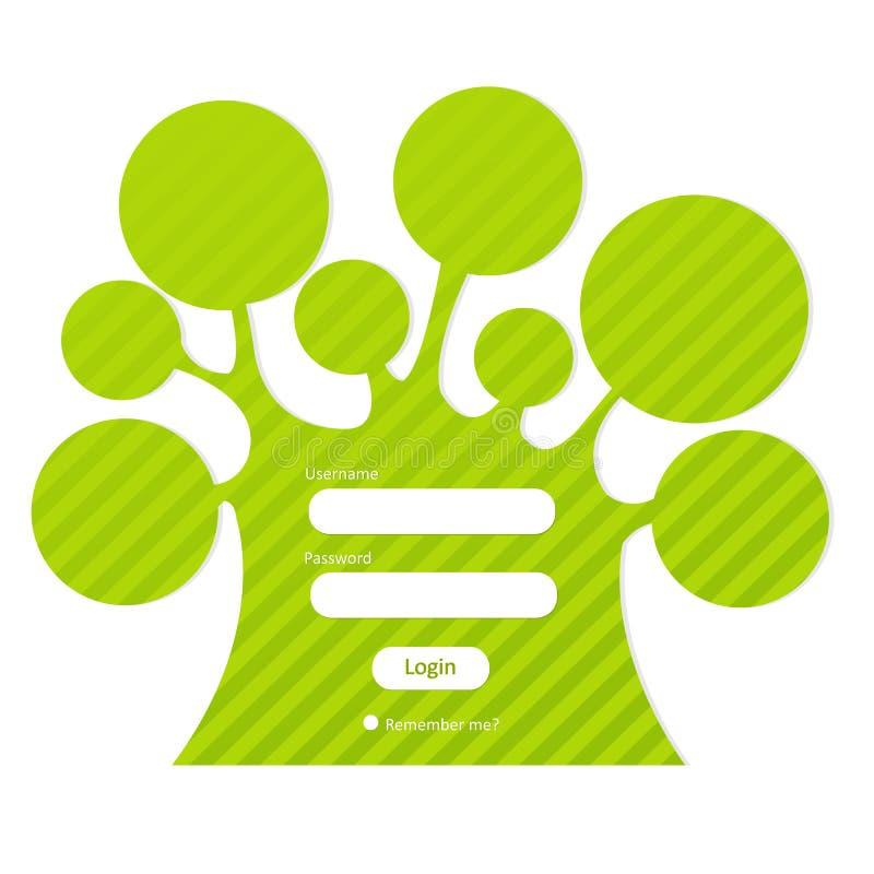 formularzowy nazwa użytkownika hasła drzewo royalty ilustracja