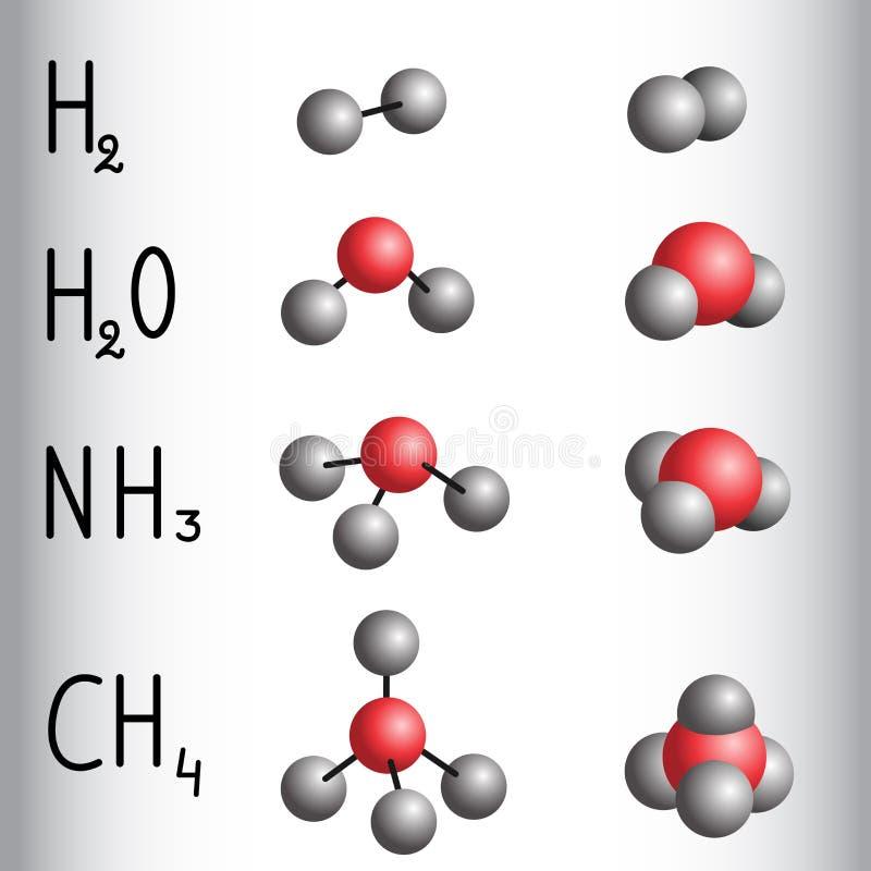Formule chimique et modèle de molécule d'hydrogène, l'eau, ammoni illustration libre de droits