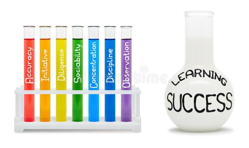 Formule d'apprendre le succès. Concept avec les flacons colorés. images stock