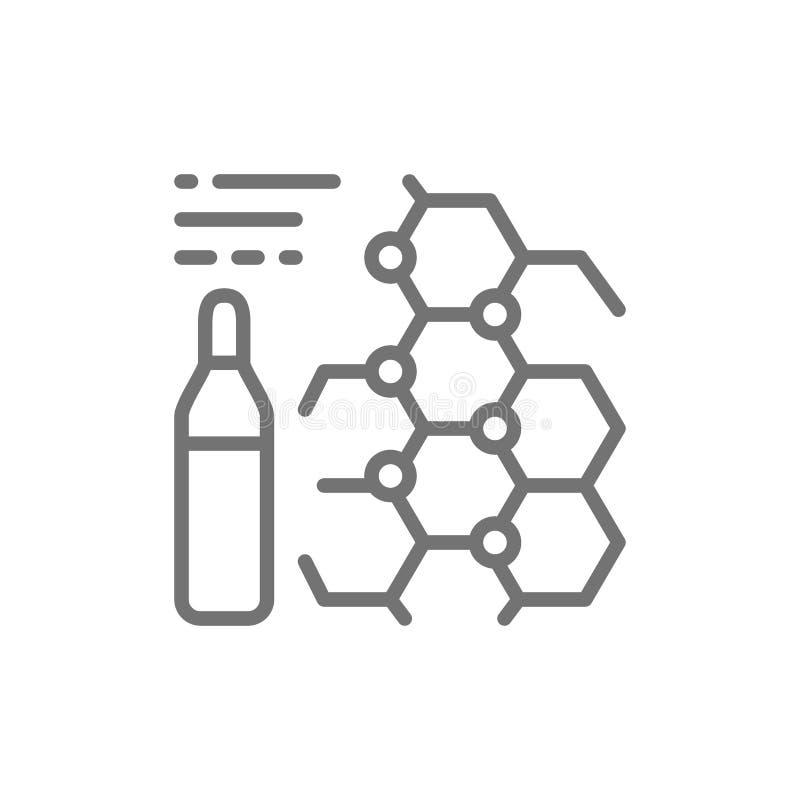 Formule de médecine, ampoules, ligne vaccinique icône illustration stock