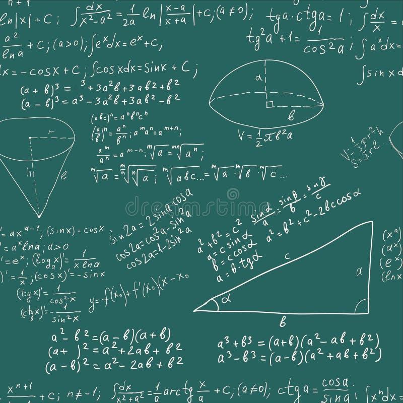 Formule de maths d'écriture de main sur le greenboard sans joint photographie stock
