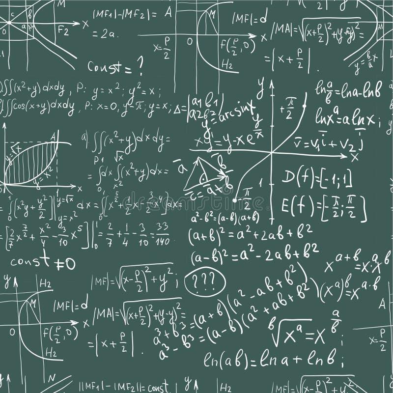 Formule de maths d'écriture de main sur le tableau noir sans joint images stock