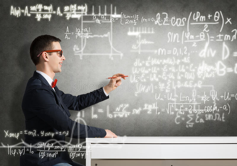 Formule di scienza del disegno dello studente immagini stock libere da diritti