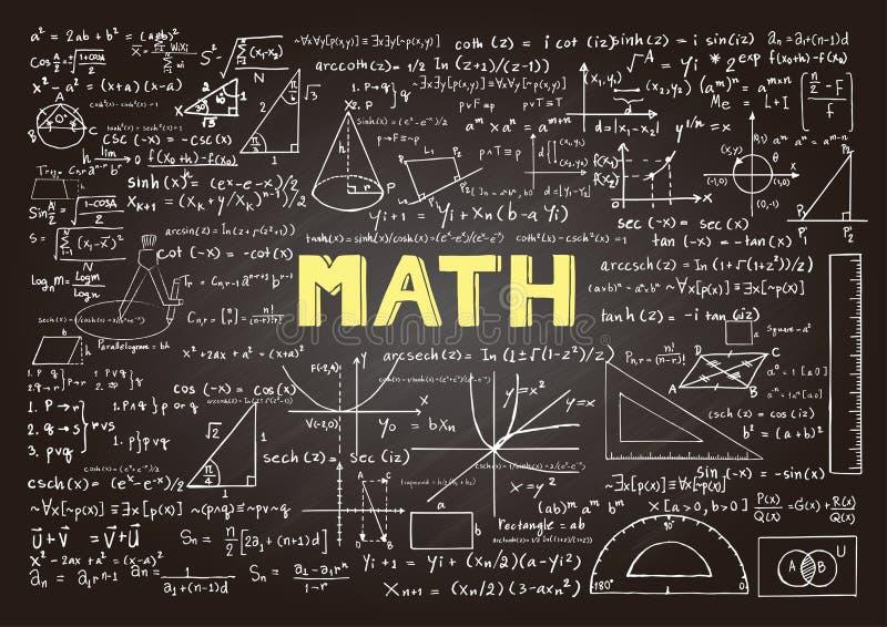 Formule disegnate a mano di matematica sulla lavagna per fondo, l'insegna, la copertina di libro ed ecc per industria di istruzio illustrazione vettoriale