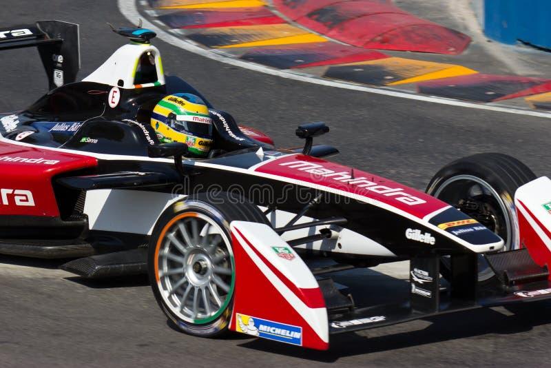 Formule E - het Rennen van Bruno Senna - Mahindra- royalty-vrije stock fotografie