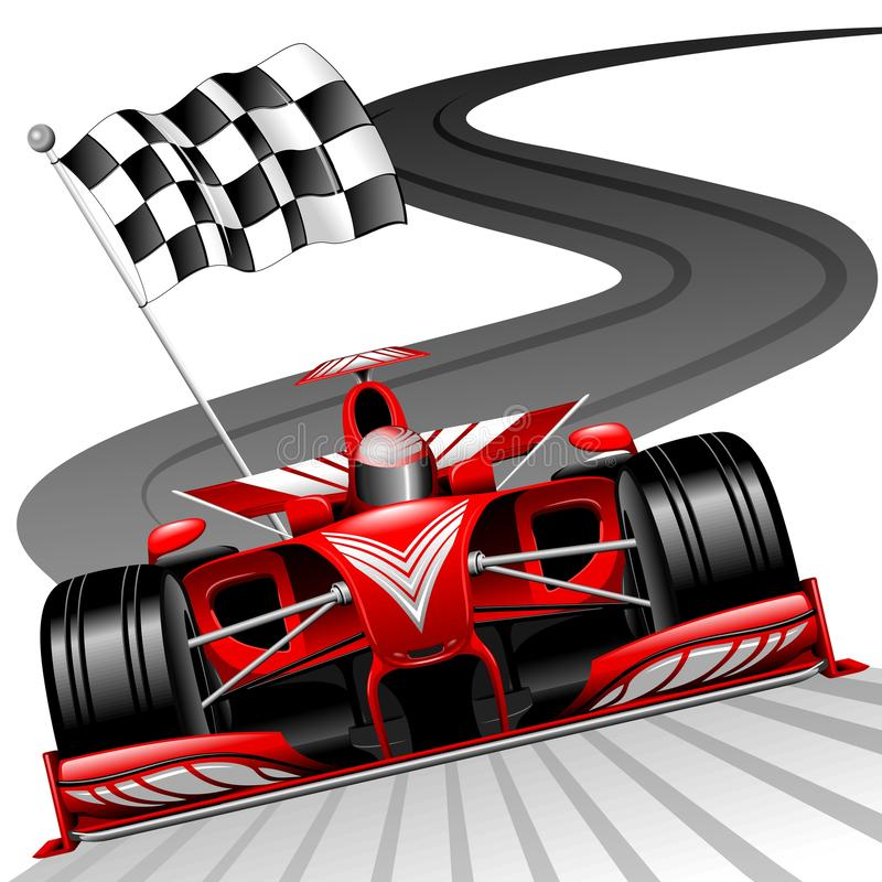 Formule 1 Rode Race die op Gran Prix-Kring voor de vectorillustratie van het Wereldkampioenschap lopen vector illustratie