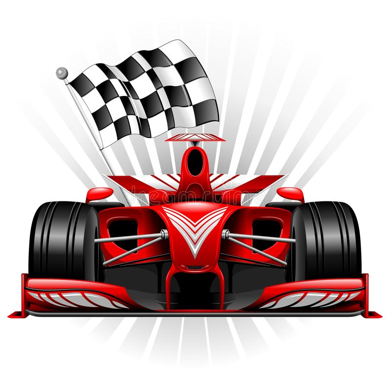 Formule 1 Rode Raceauto met Geruite Vlag Vectorillustratie vector illustratie