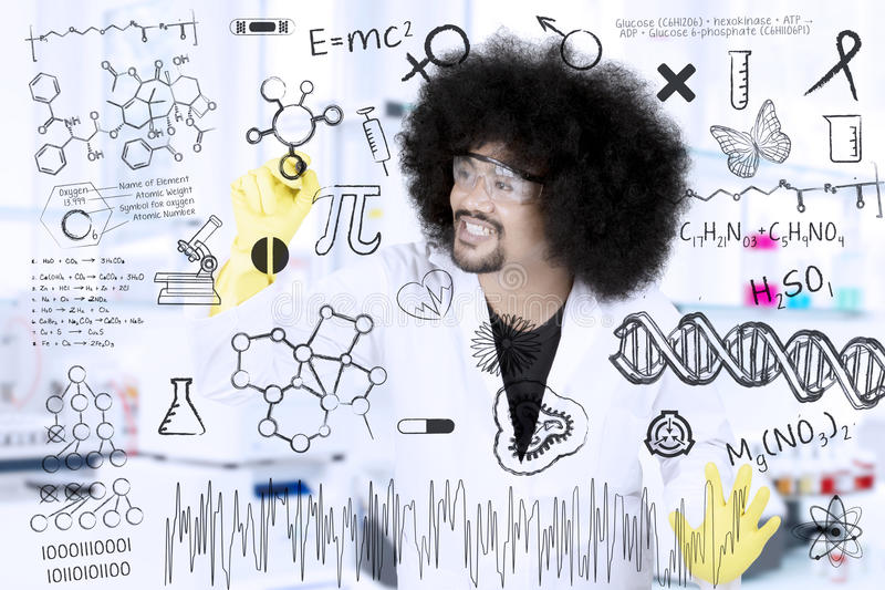 Formules de recherches d'écriture de scientifique d'Afro image libre de droits