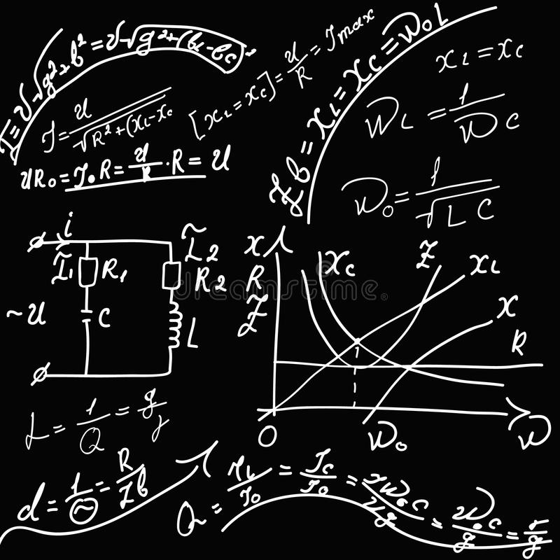 Formules van fysica. stock illustratie