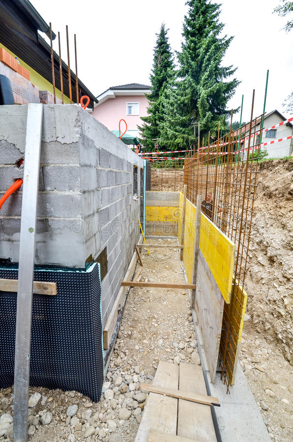 Formwork for the concrete fence in a family house terrace royalty free stock images