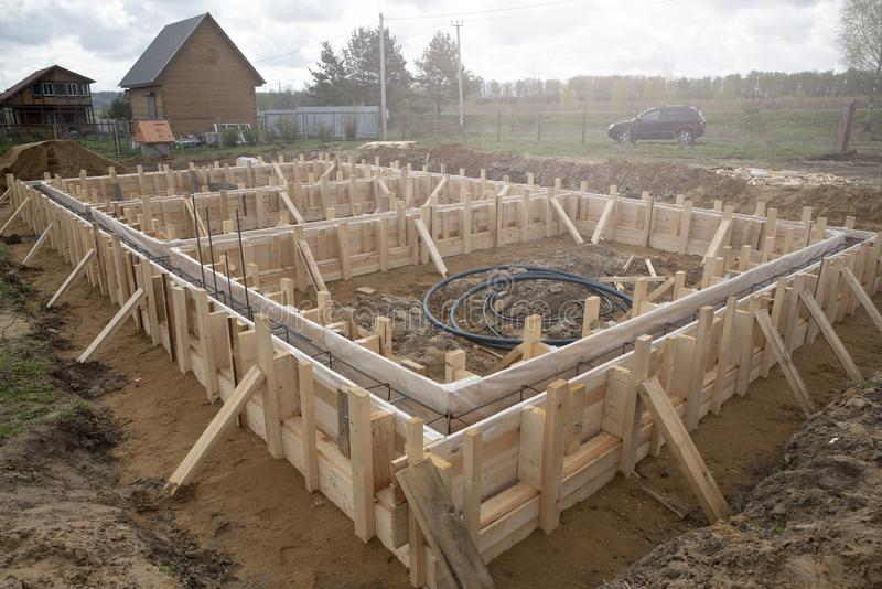 Formwork to fill the foundation stock images
