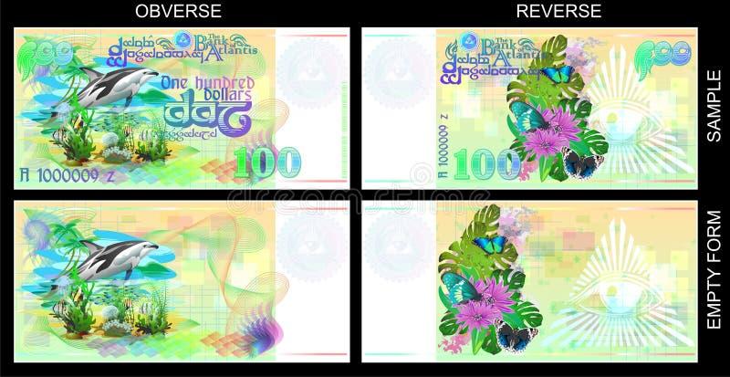 Formy dla prezentów świadectw Śmieszni banknoty Atlantis ilustracja wektor