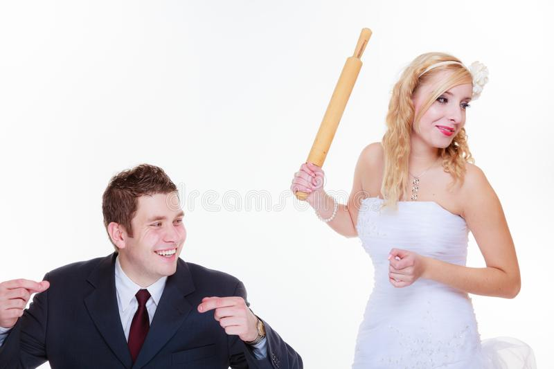 Fornal i panna młoda ma bełta argument zdjęcia stock
