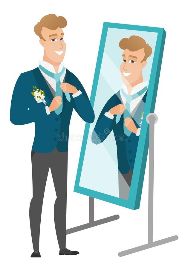 Fornal patrzeje w lustrze i przystosowywa krawat royalty ilustracja