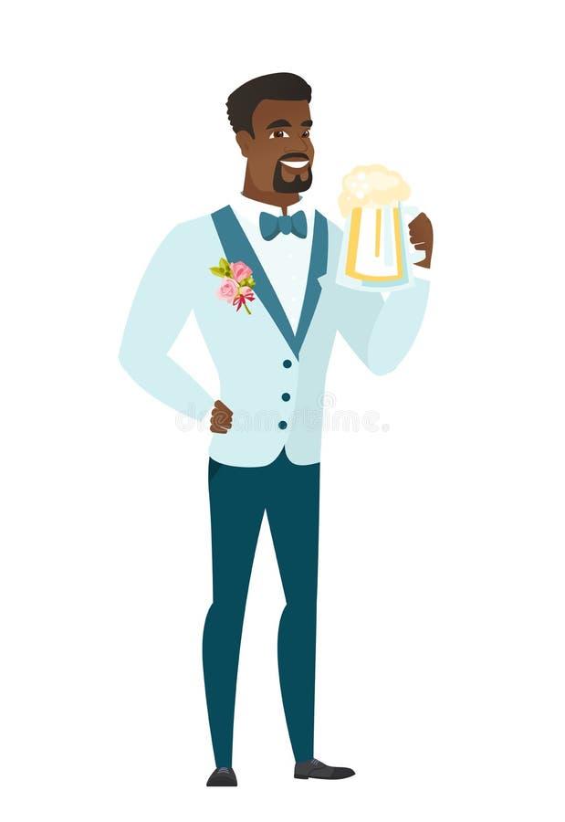 Fornal pije piwną wektorową ilustrację royalty ilustracja
