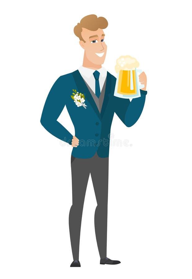 Fornal pije piwną wektorową ilustrację ilustracja wektor