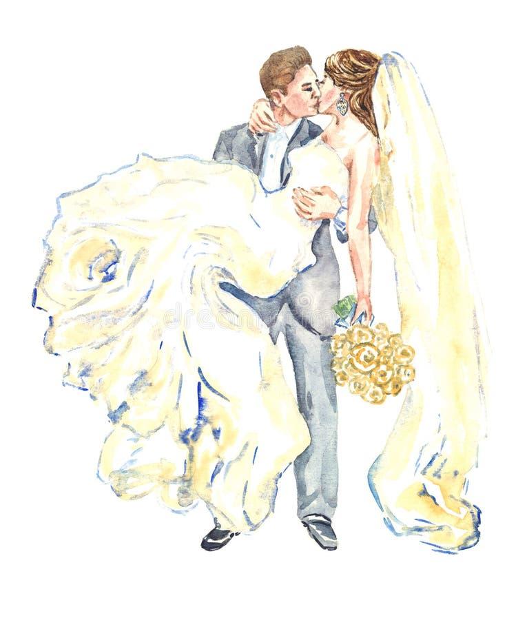 Fornal trzyma jego panny młodej na jego ręki i całować ilustracja wektor