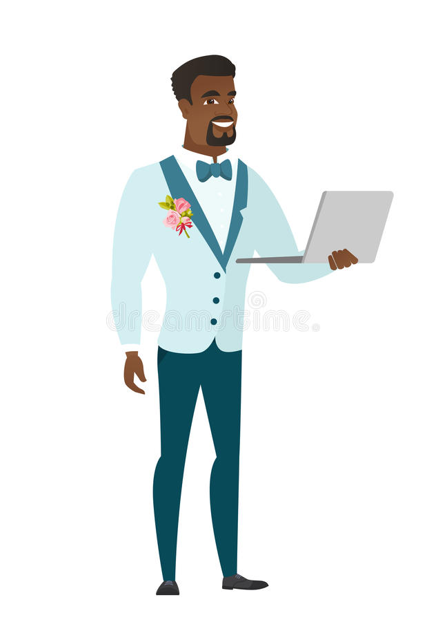 Fornal używa laptopu wektoru ilustrację ilustracji