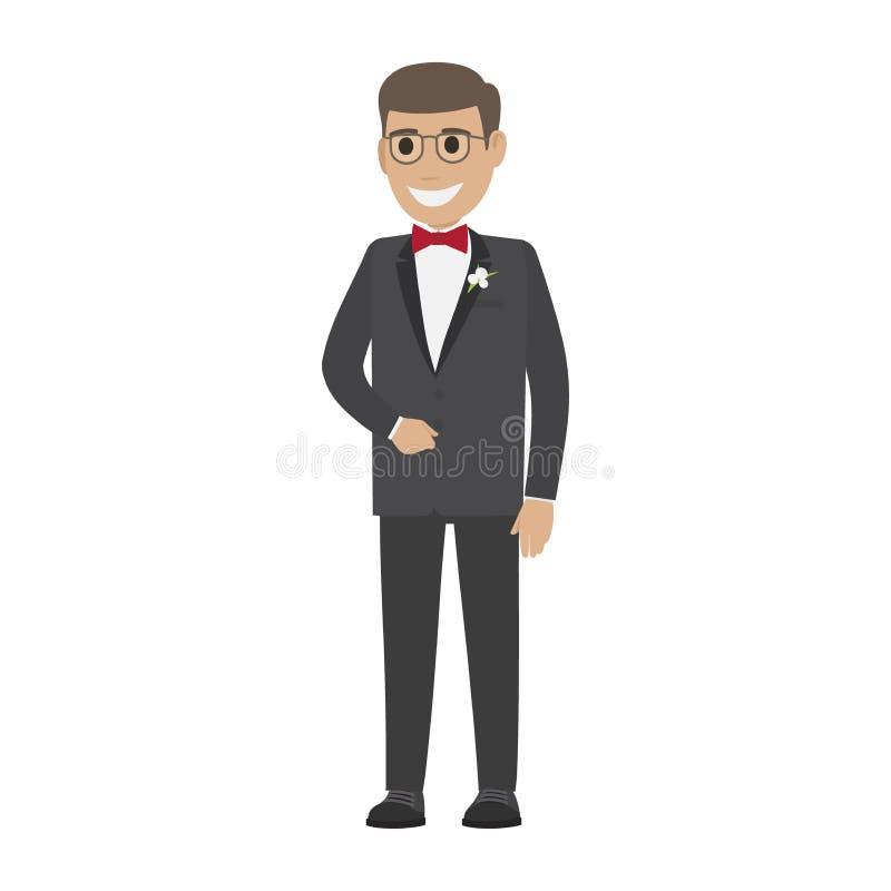 Fornal w ślubu kostiumu Odizolowywającym na Białej Młodej samiec royalty ilustracja