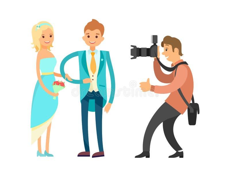 Fornal w Błękitnym kostiumu i pannie młodej Jest ubranym Ślubną suknię royalty ilustracja