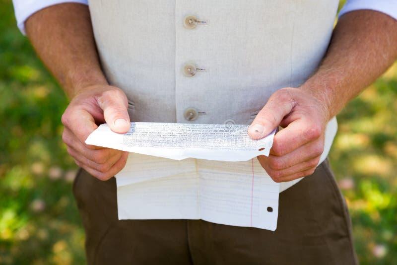 Fornala czytania ślubowania dla Poślubiać zdjęcia stock